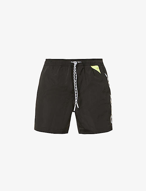 REPLAY: Logo-print relaxed-fit woven swim shorts