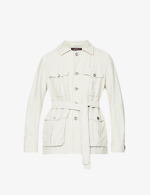 OSCAR JACOBSON: Westwood patch-pocket cotton and linen-blend jacket