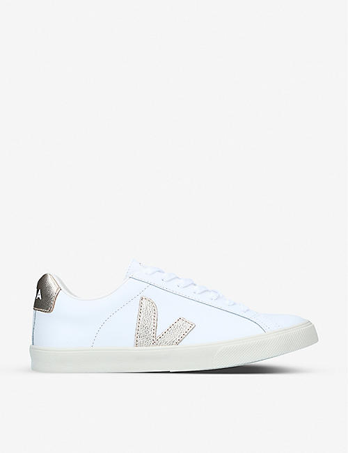 VEJA: Esplar logo-embossed low-top leather and canvas trainers