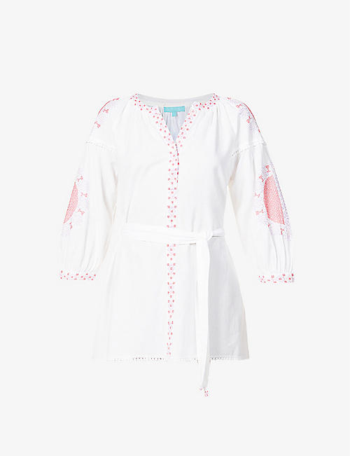 MELISSA ODABASH: Cathy embroidered cotton and linen-blend kaftan