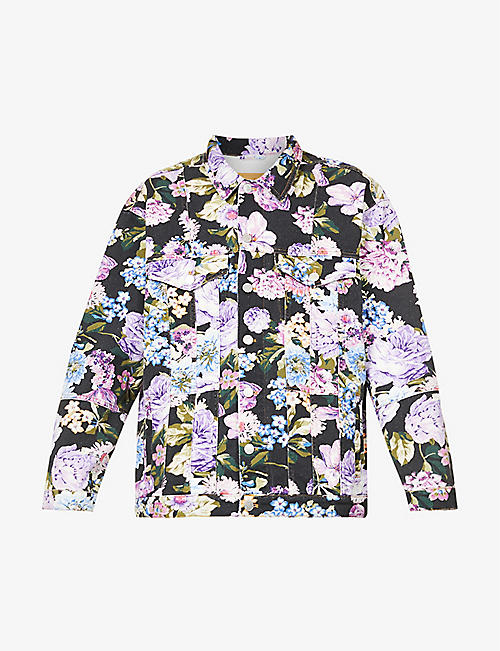 MARTINE ROSE: Floral-print dropped-shoulder denim jacket