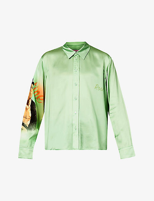 MARTINE ROSE: Bonbon printed relaxed-fit crepe-satin shirt