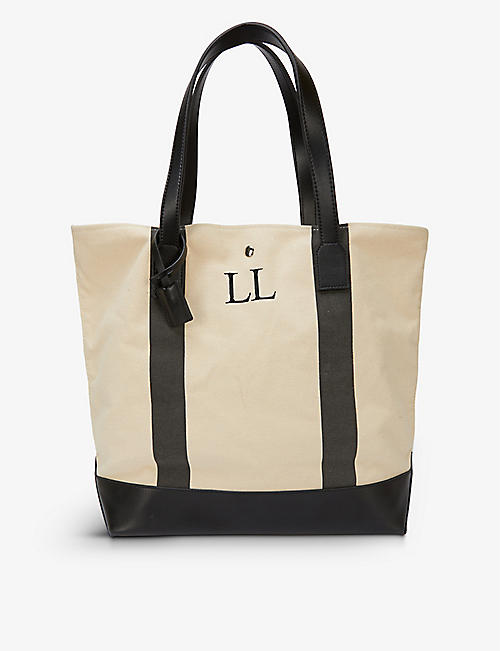 H A DESIGNS: Personalised striped leather and canvas beach bag