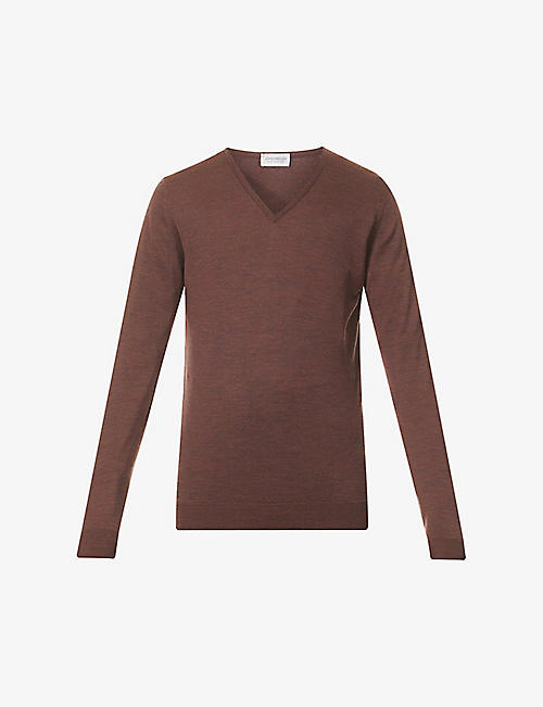 JOHN SMEDLEY: V-neck regular-fit wool jumper