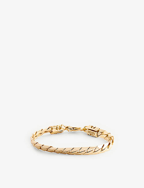 EMANUELE BICOCCHI: Brand-engraved 24ct yellow gold-plated sterling-silver chain bracelet