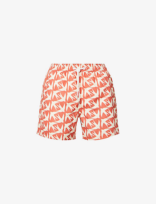 FAR AFIELD: Graphic-pattern recycled-polyester swim shorts