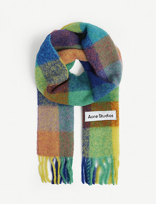 ACNE STUDIOS: Vally check-print wool-blend scarf