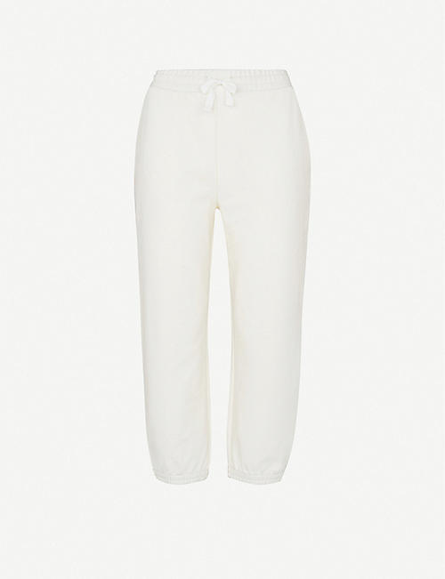 WHISTLES: High-rise cropped cotton-blend jogging bottoms