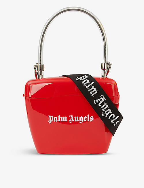 PALM ANGELS: Padlock logo-embossed vinyl cross-body bag