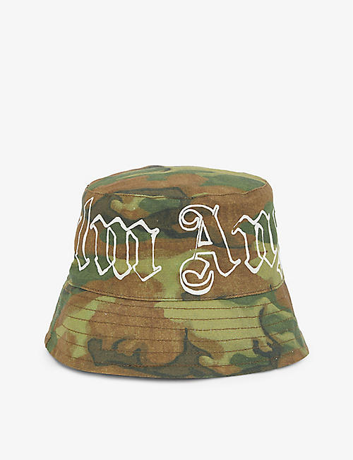 PALM ANGELS: Branded camo-print cotton bucket hat