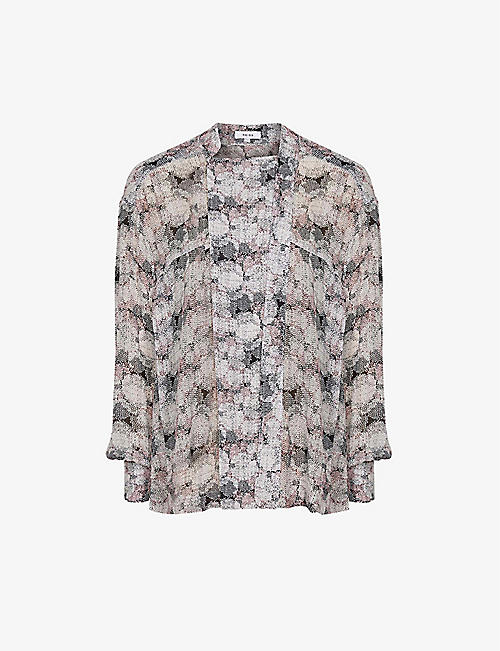 REISS: Maggie graphic-print woven blouse
