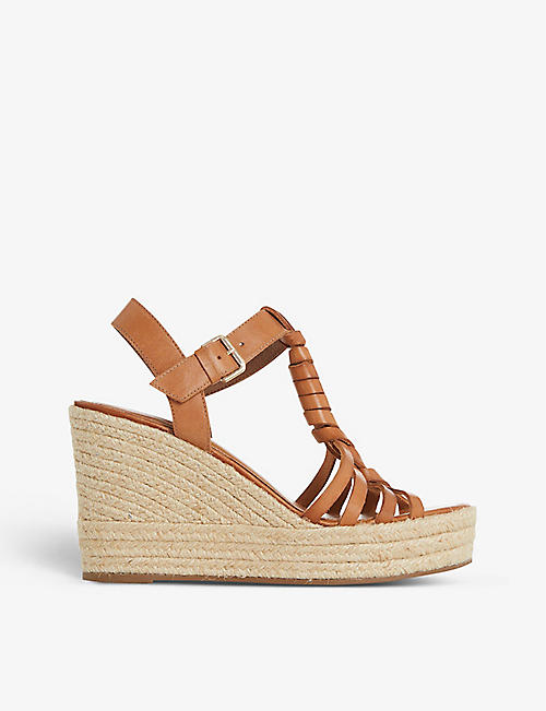 DUNE: Kofu espadrille leather wedge sandals