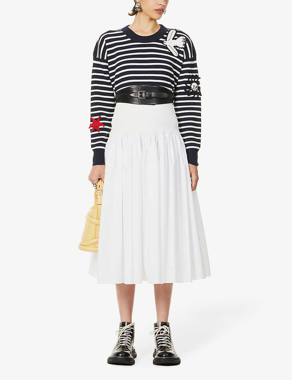 ALEXANDER MCQUEEN Hybrid high-waist cotton and stretch-woven midi skirt