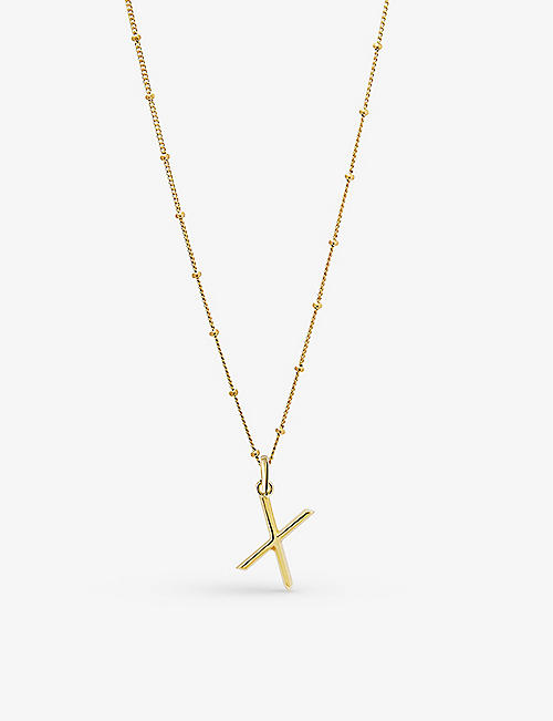 EDGE OF EMBER: X initial 18ct yellow gold-plated vermeil recycled sterling-silver pendant necklace
