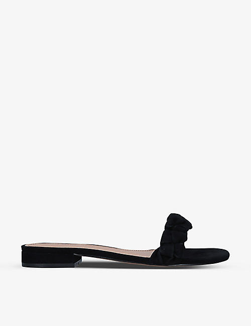 WHO WHAT WEAR: Celia ruched-strap suede sandals