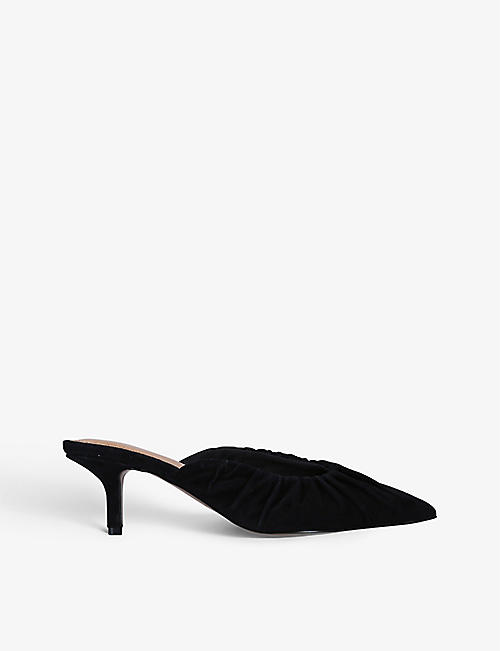 WHO WHAT WEAR: Joy ruched suede heeled mules