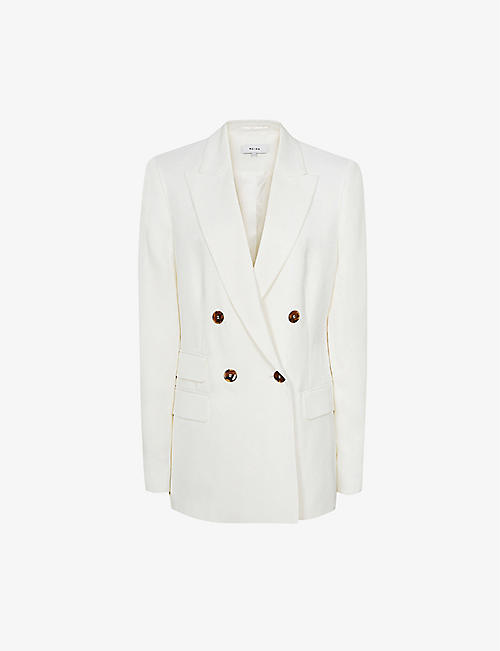 REISS: Faye double-breasted linen-blend blazer