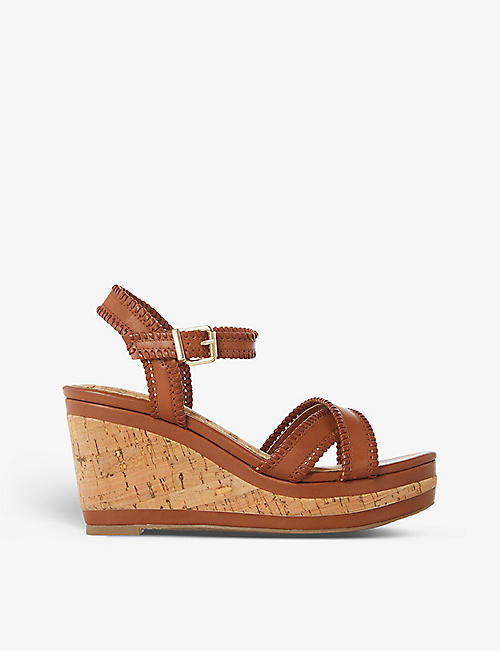 DUNE: Karm whipstitch leather wedge sandals