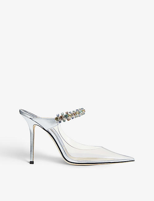 JIMMY CHOO: Bing 100 crystal-embellished PVC and leather heeled mules