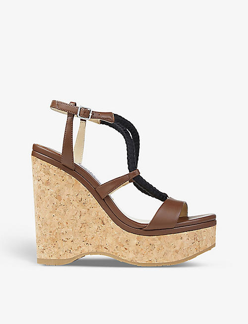 JIMMY CHOO: Wynwood rope-strap leather wedged sandals