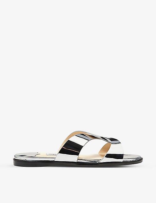 JIMMY CHOO: Atia crossover-strap metallic-leather sandals