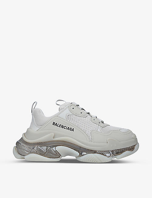 BALENCIAGA: Women's Triple S Clear Sole faux-leather and mesh trainers