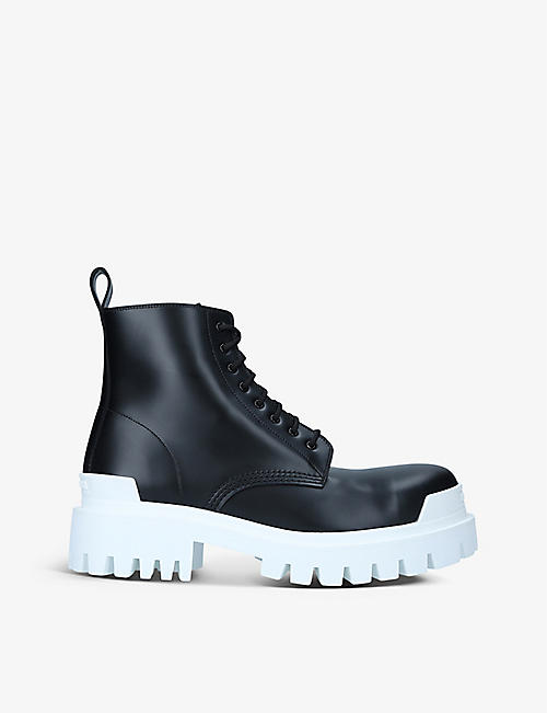 BALENCIAGA: Strike Commando lace-up leather ankle boots