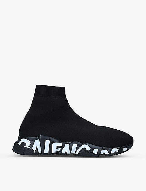 BALENCIAGA: Men's Speed Graffiti logo-print stretch-knit trainers