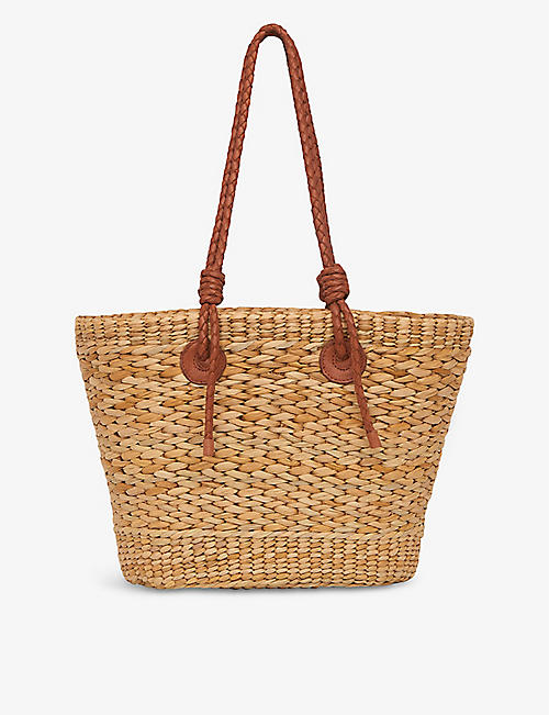 WHISTLES: Lyon double handle leather and straw tote bag