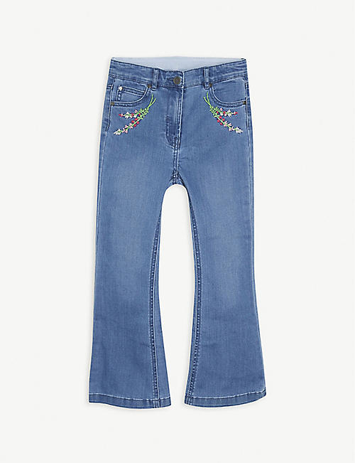 STELLA MCCARTNEY: Floral-embroidered flared denim jeans 4-16 years