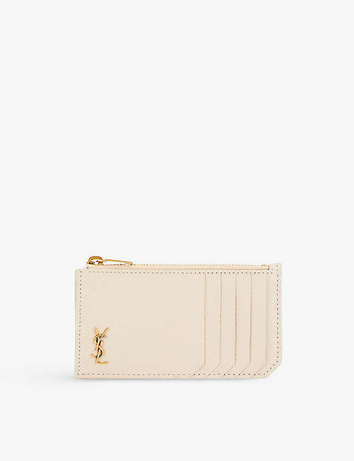 SAINT LAURENT: Monogram quilted leather cardholder