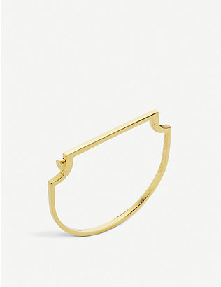 MONICA VINADER: Signature skinny 18ct yellow gold-plated vermeil bangle bracelet
