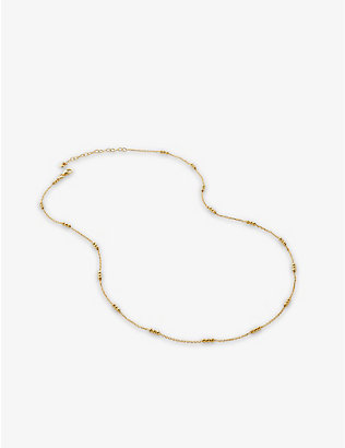 MONICA VINADER: Triple-beaded 18ct recycled gold-plated vermeil sterling-silver choker necklace