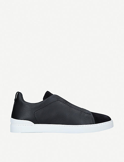 ERMENEGILDO ZEGNA: Triple Stitch low-top leather and suede trainers