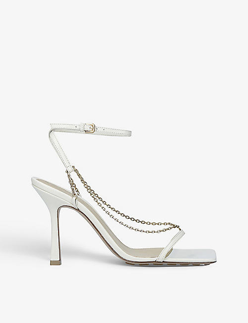 BOTTEGA VENETA: Stretch chain-embellished leather heeled sandals