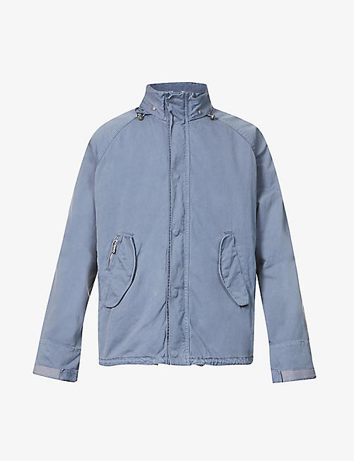 BARBOUR: Funnel-neck concealed-hood cotton jacket