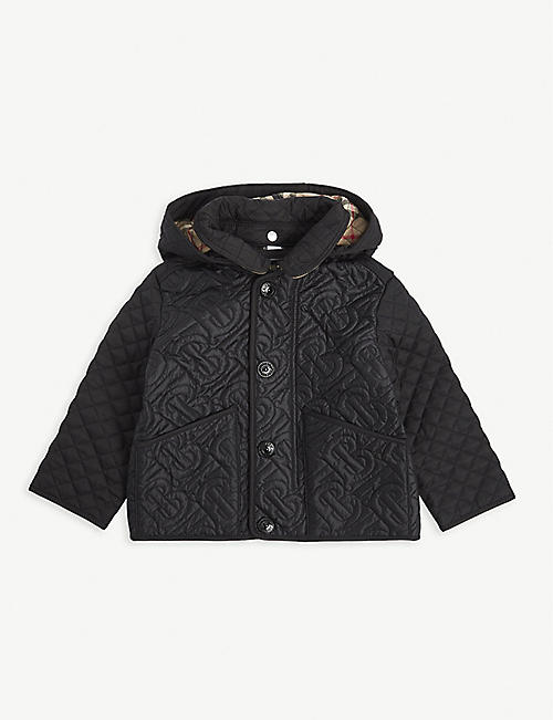 BURBERRY: Giaden monogram-quilted satin hooded jacket 6-24 months