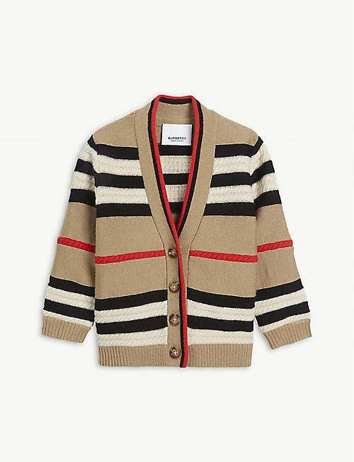 BURBERRY: Leeta striped wool and cashmere cardigan 12-24 months