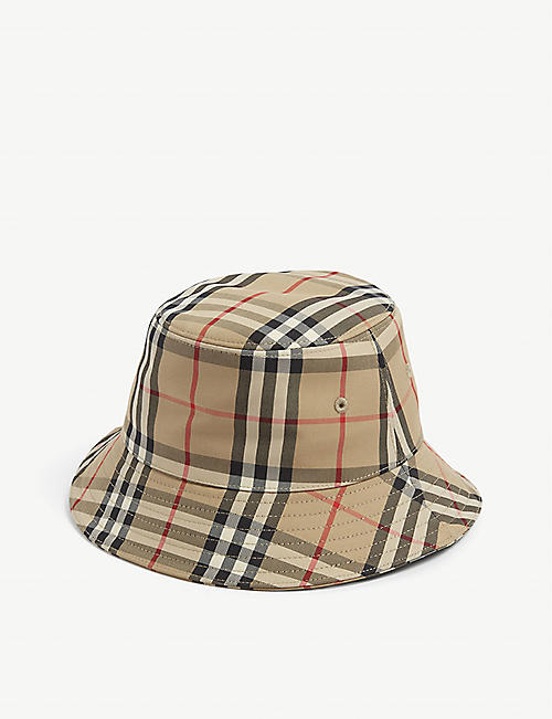 BURBERRY: Gabriell checked cotton-blend bucket hat 4-12 years