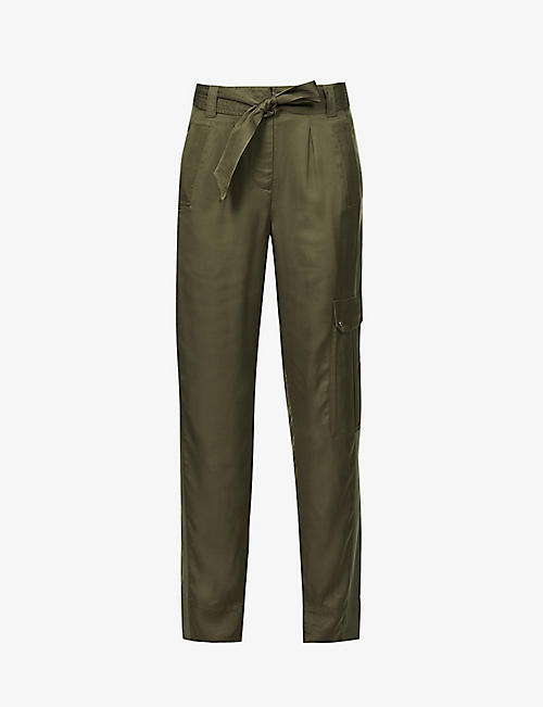 ME AND EM: AM-PM tapered high-rise satin jogging bottoms