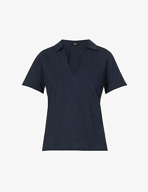ME AND EM: Collared cotton-linen blend knitted T-shirt