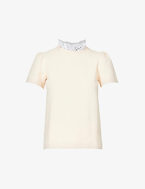 ME AND EM: Embroidered-trim cotton-jersey top