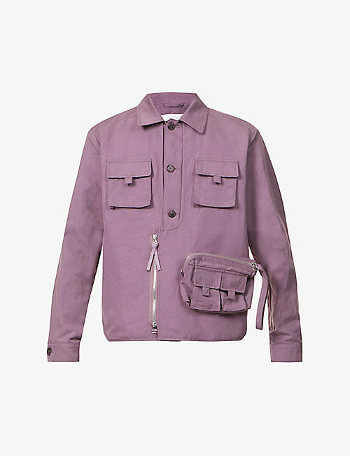 KENZO: Dropped-shoulder cotton and linen-blend jacket