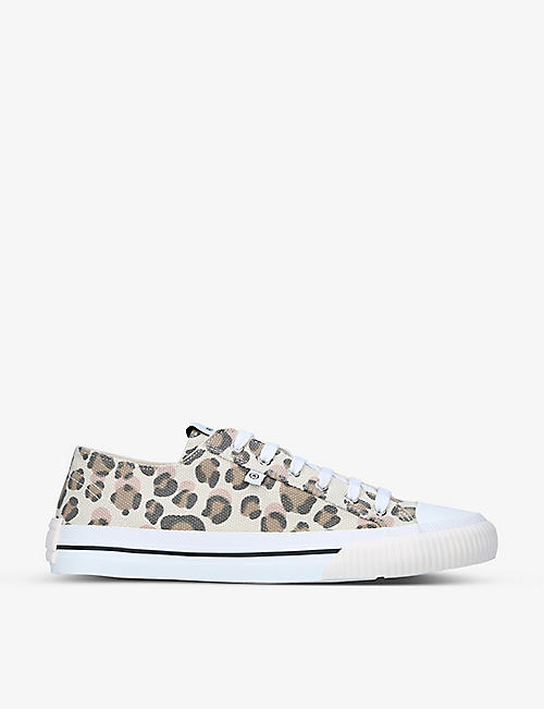 AXEL ARIGATO: Midnight leopard-print recycled-canvas low-top trainers