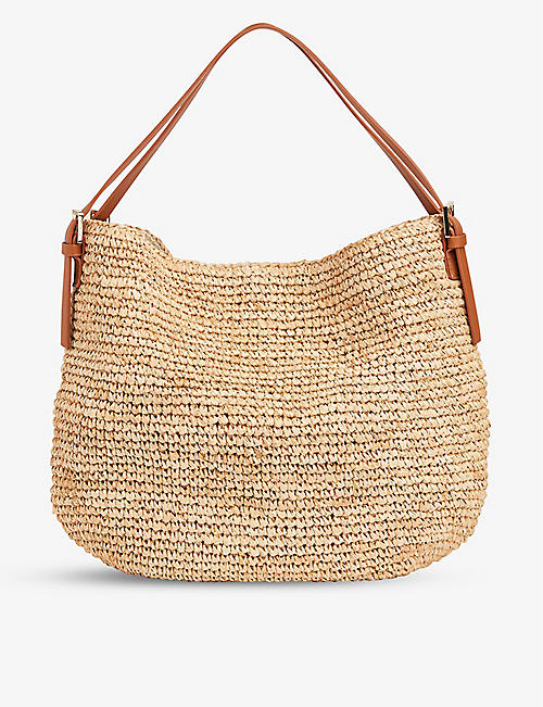WHISTLES: Aria straw and leather shoulder bag