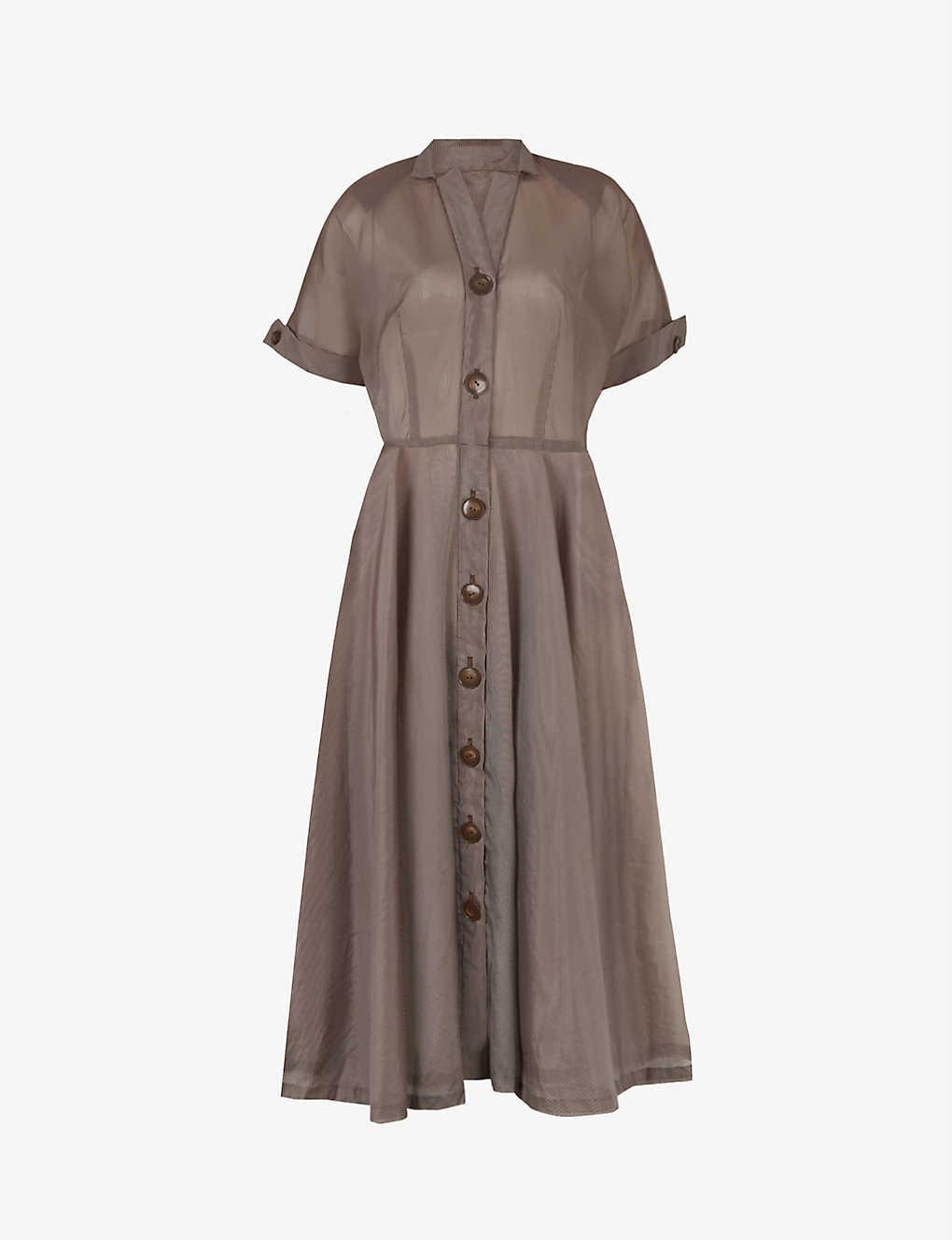 Pre-loved 1950s pin-stripe woven midi dress