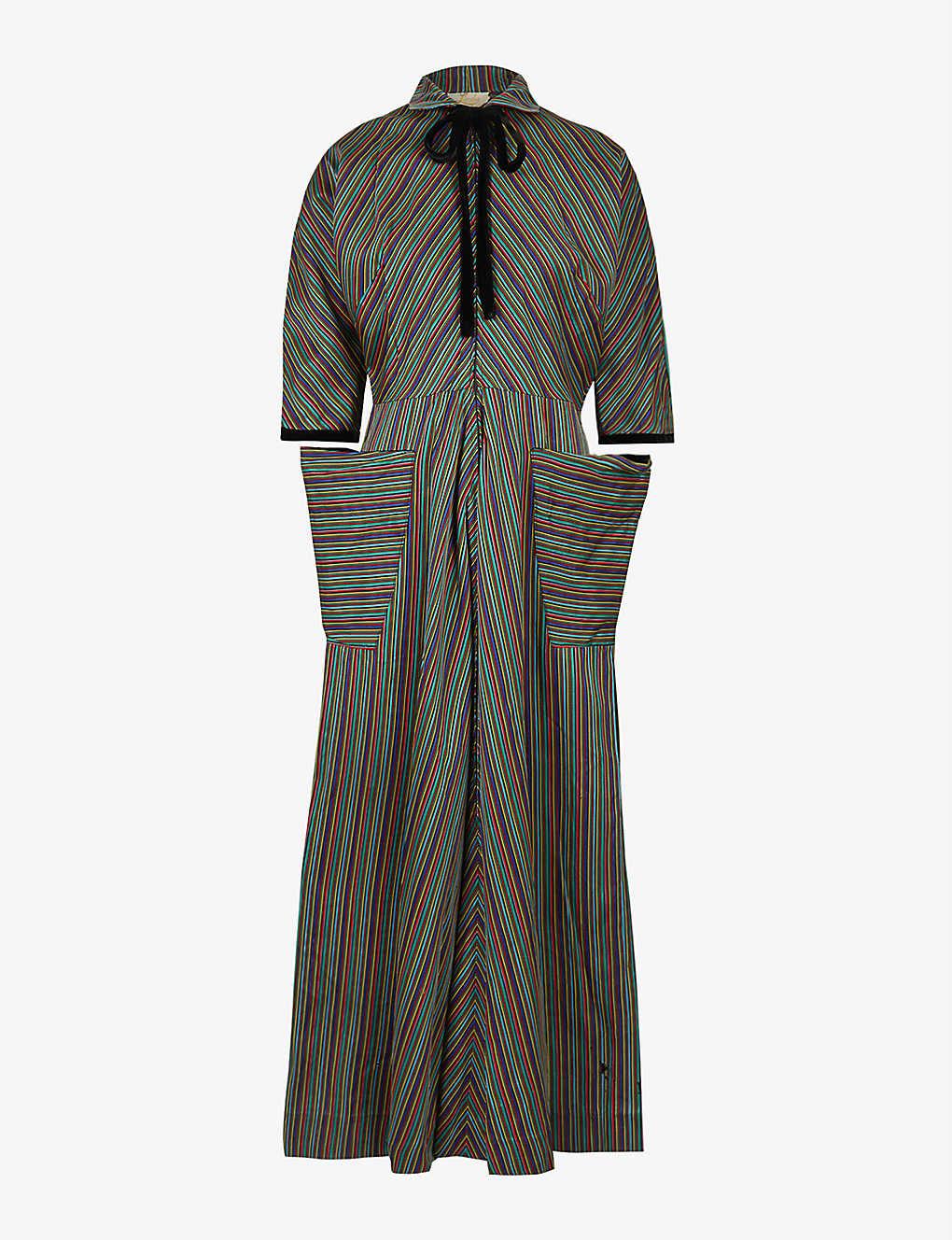 Pre-loved 1930s striped jacquard maxi dress