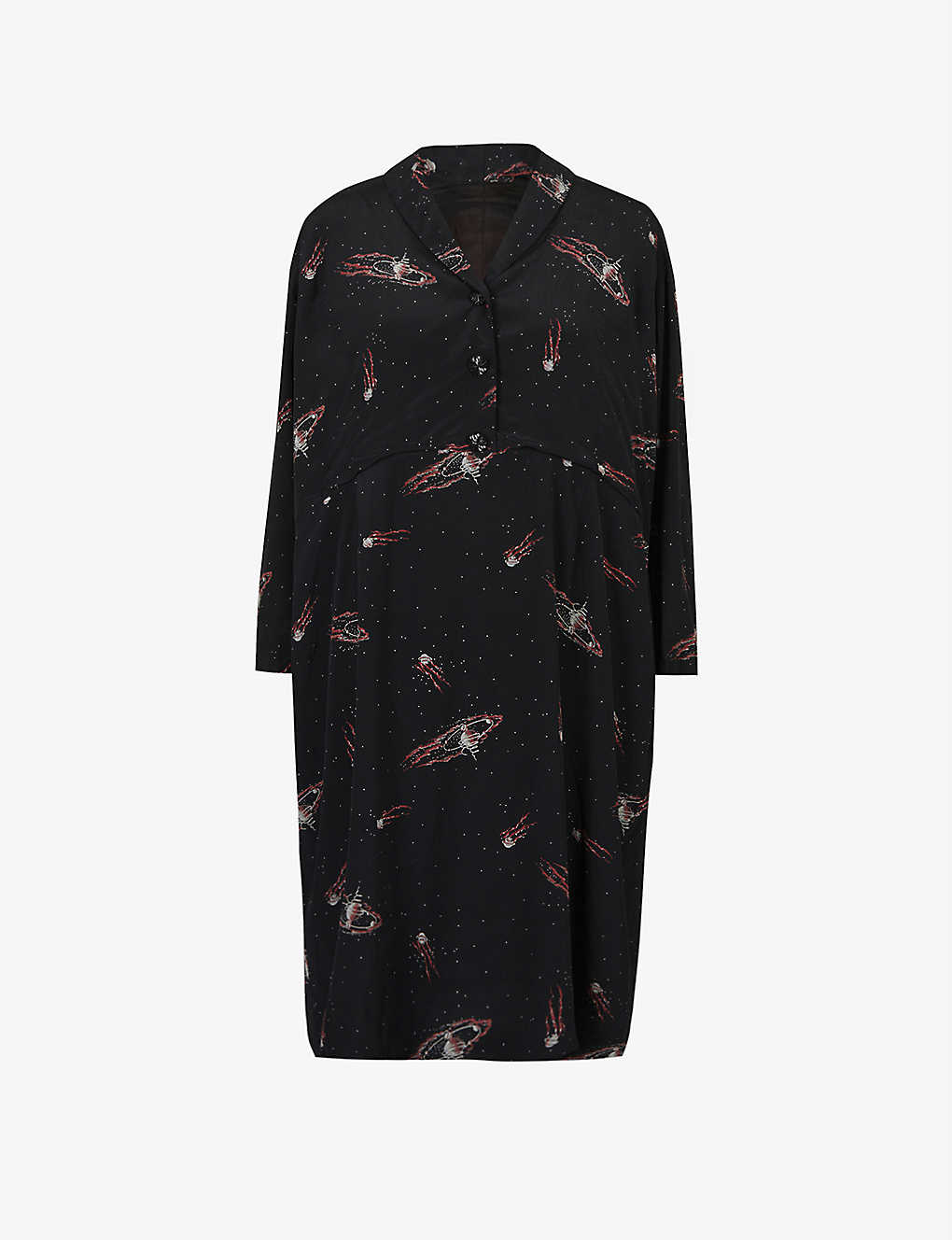 Pre-loved 1950s galactic-print crepe midi dress