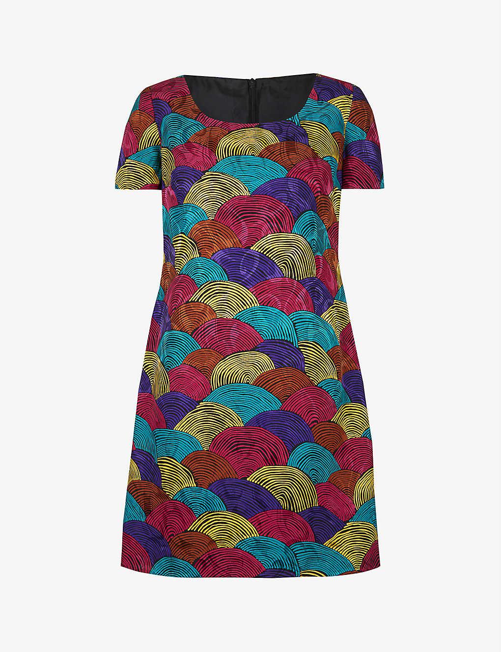 Pre-loved graphic-print crepe midi dress