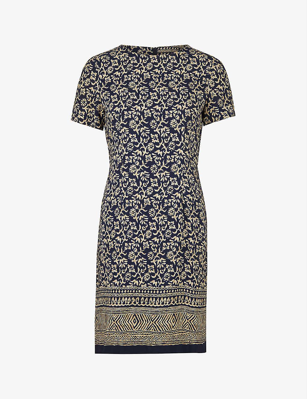 Pre-loved floral-print crepe midi dress
